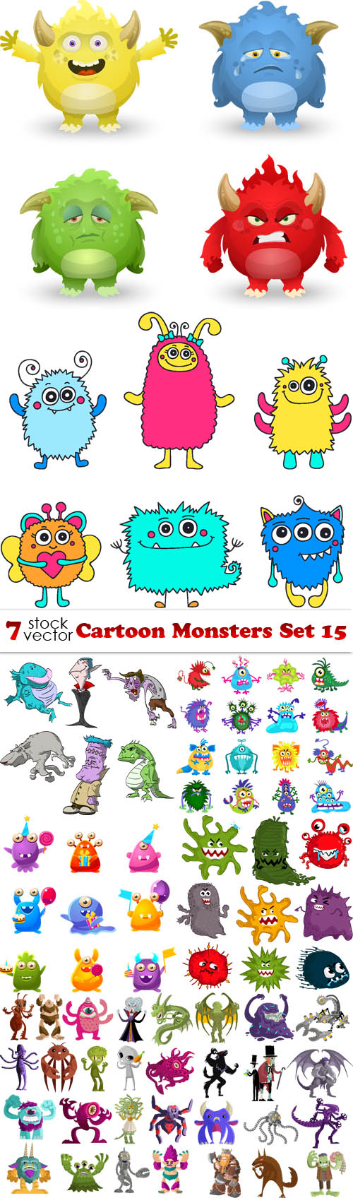 Vectors - Cartoon Monsters Set 15