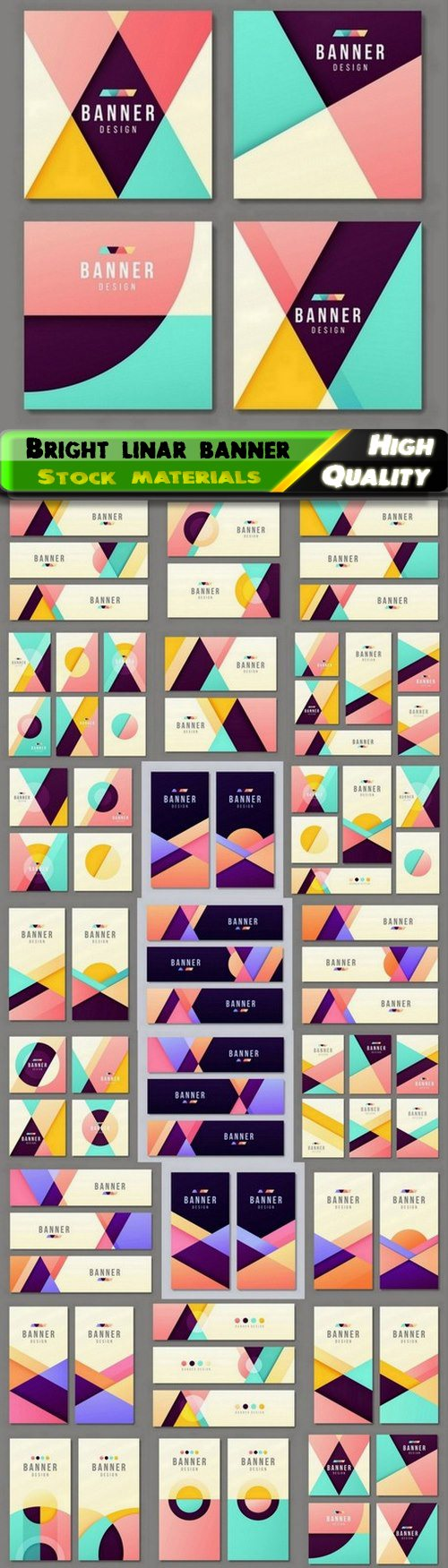 Bright linar modern banner flyer poster business card templates 25 Eps