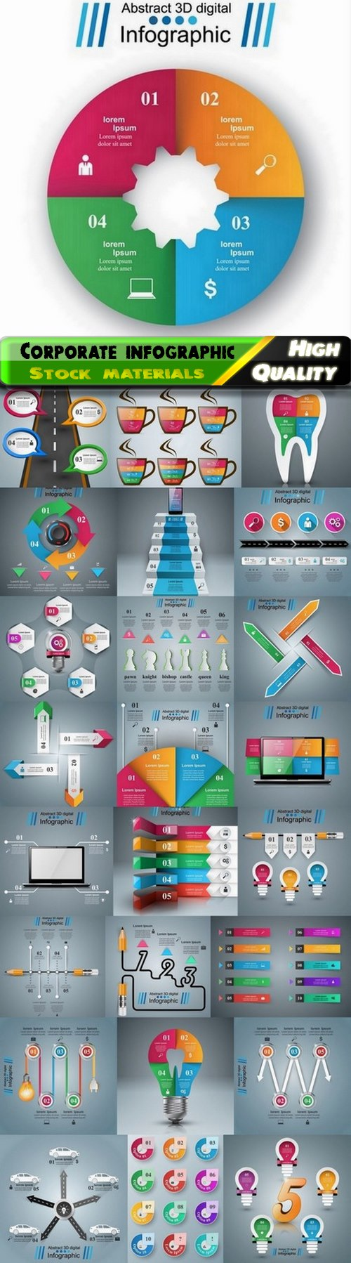 Business corporate infographic analysis and diagram elements 25 Eps