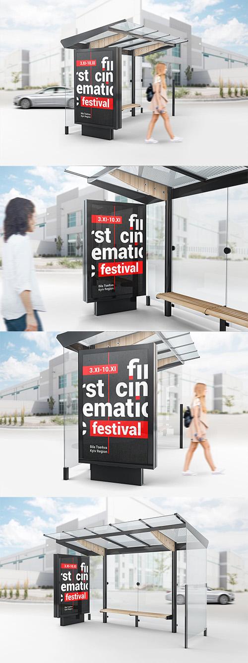 PSD Bus Stop Lightbox Mockup