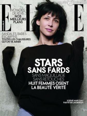 Софи Марсо. Звезда никогда не стеснялась выглядеть естественно и даже появилась без макияжа на обложке журнала Elle.