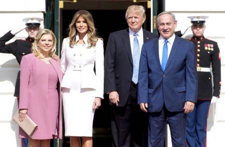 жена премьер-министра Израиля Сара Нетаньяху, Мелания Трамп, Дональд Трамп, премьер-министр Израиля Биньямин Нетаньяху