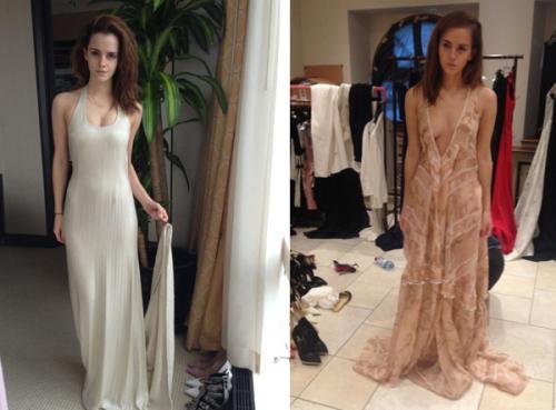 На других фотографиях Эмма Уостон выбирает вечернее платье