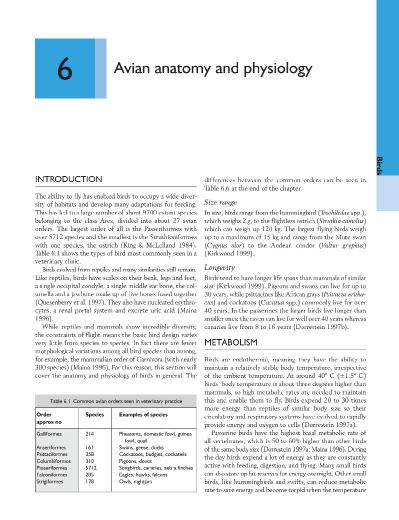 Avian anatomy and physiology O 'Malley