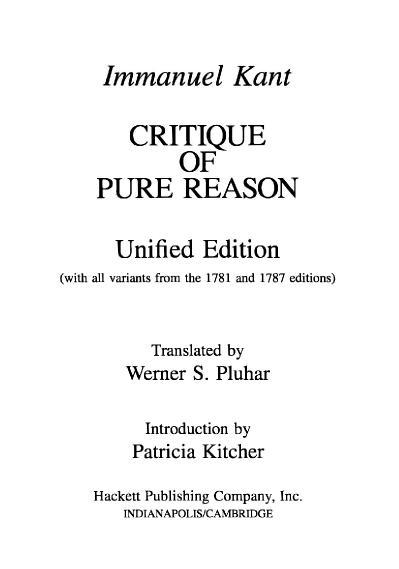 Immanuel Kant   Critique of Pure Reason