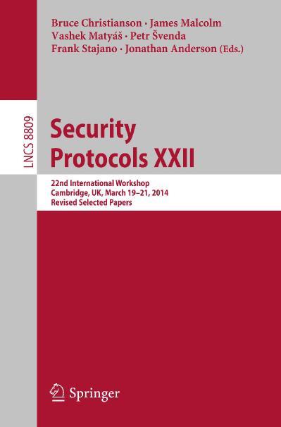 Security Protocols XXII