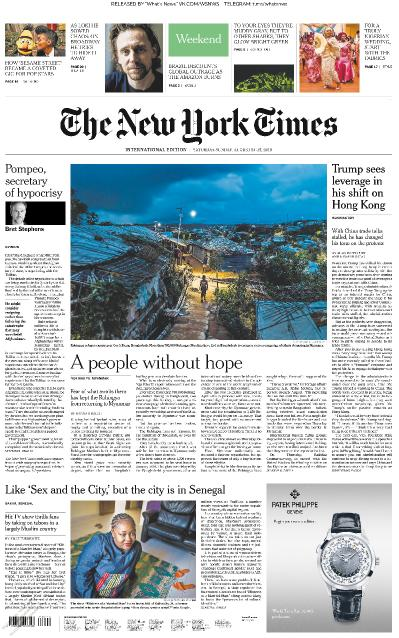The New York Times International - 24 08 2019 - 25 08 (2019)